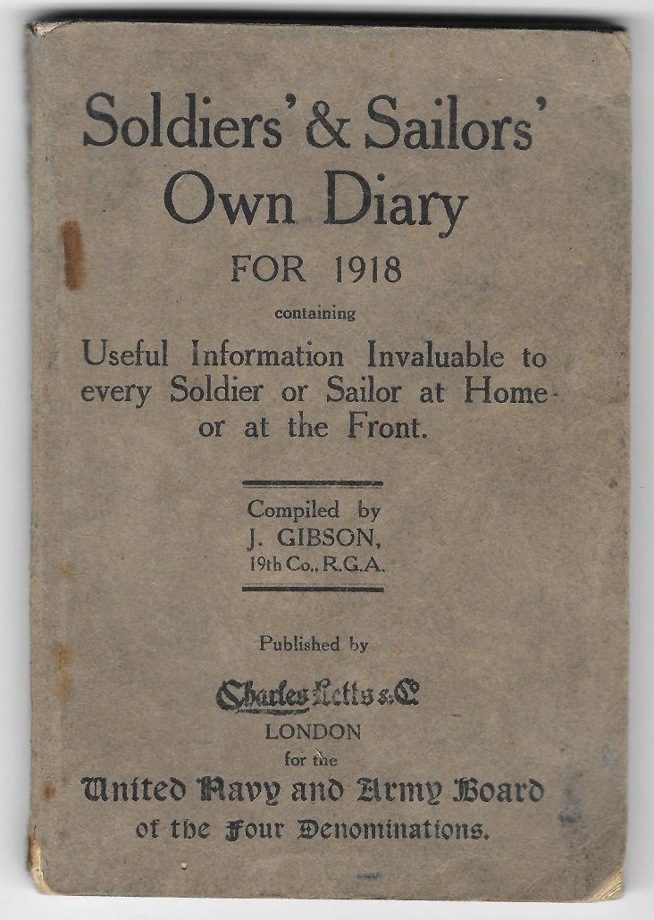 1918 Soldier's Diary cover