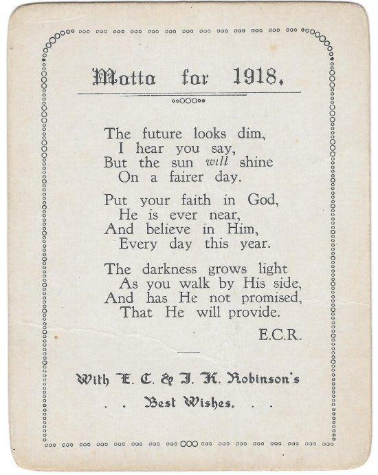 J.S. Whitham's 1918 motto