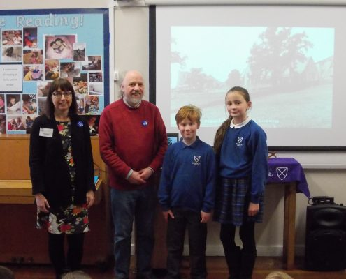 Graham & Helen with two pupils who are related to Farnhill WW1 Volunteers