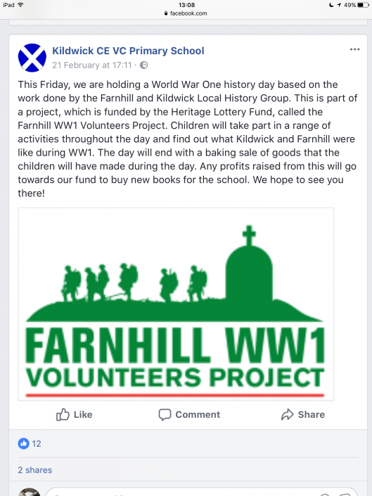 Kildwick School WW1 Study Day - Facebook post