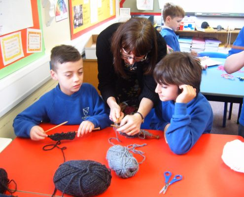 Helen Moran from the project helped with the knitting
