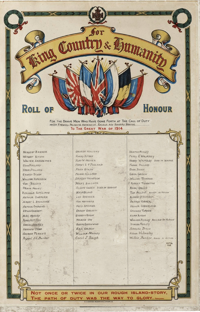 Farnhill Methodist WW1 Roll of Honour - detail